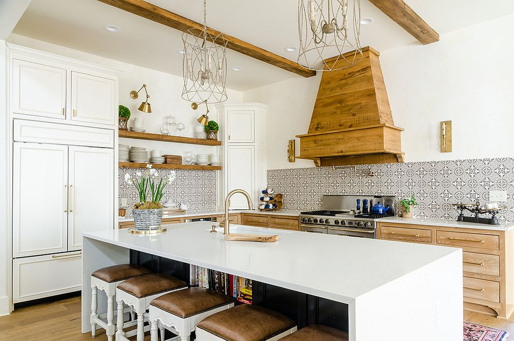 Wood and white is a popular choice in the farmhouse style kitchen