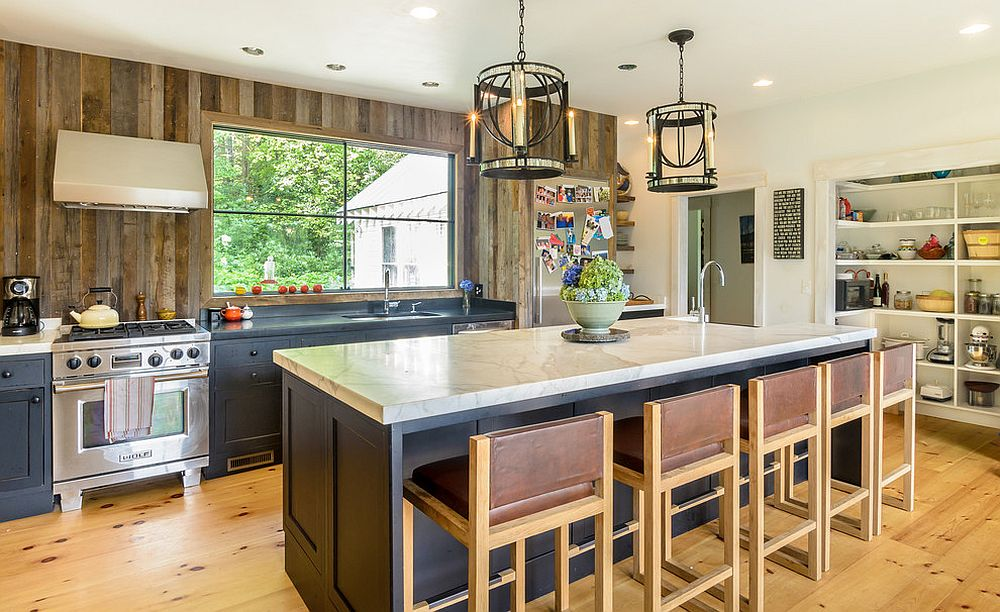 Wood brings warmth to the smart farmhouse style kitchen