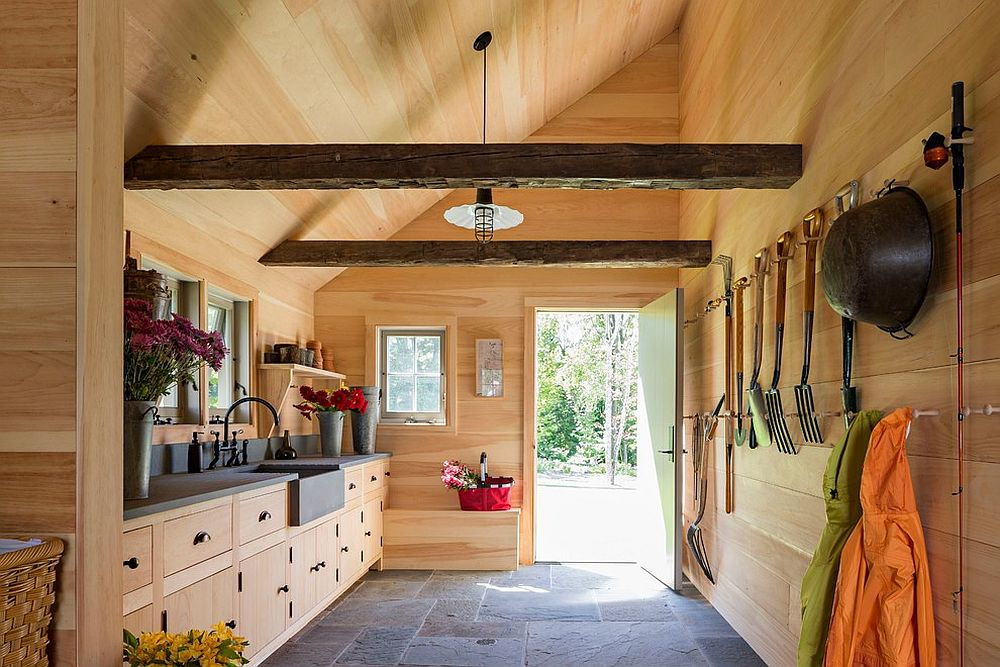 Wooden pegs give the cabinets a classic shaker-style vibe
