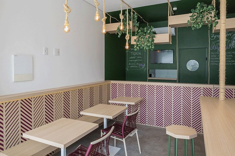 Wooden work adds chevron pattern to the diner