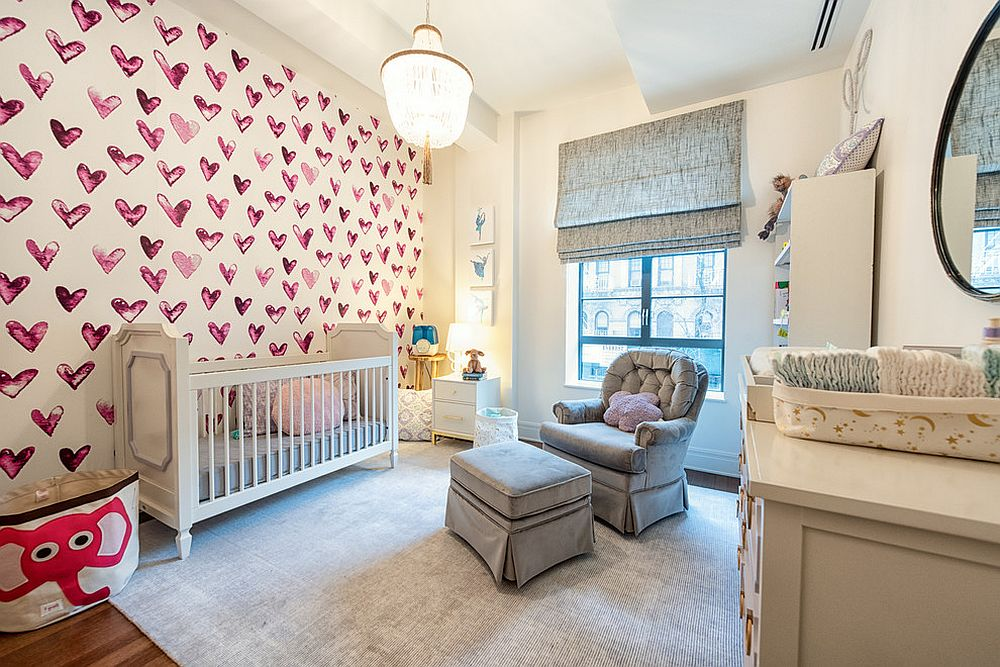 Accent wall with heart motifs is fun and perfect for the girls' room