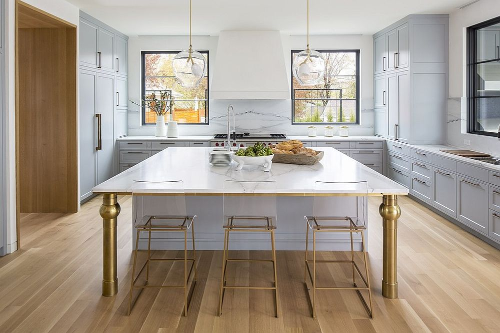 Acrylic-and-brass-kitchen-island-is-a-showstopper
