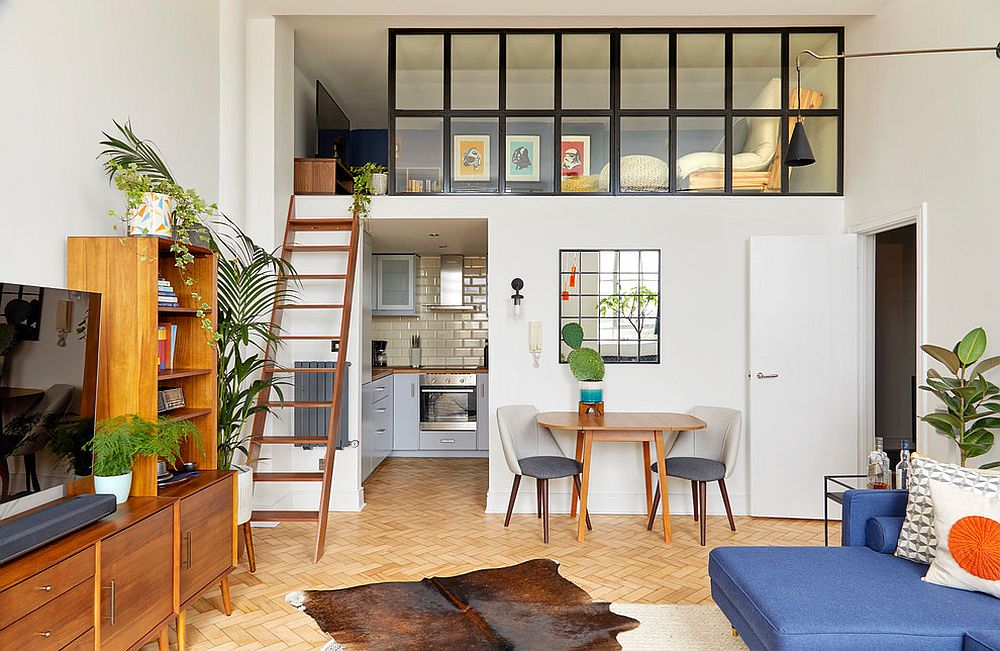 Altered mezzanine level of mid-century modern apartment with a difference!
