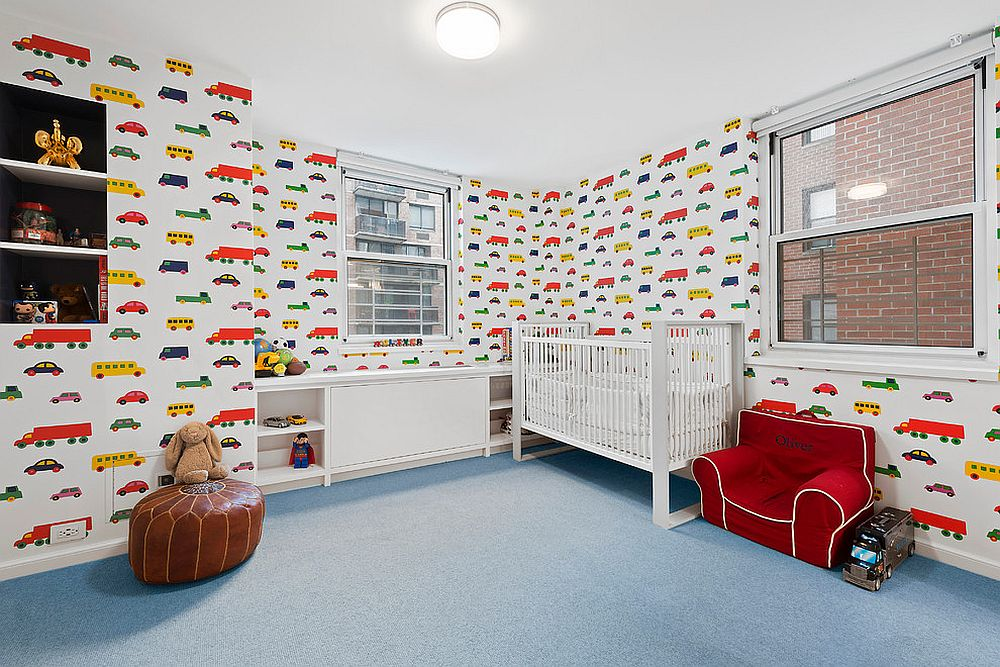 Boys' nursery with wallpaper pattern that feels refreshing and vibrant