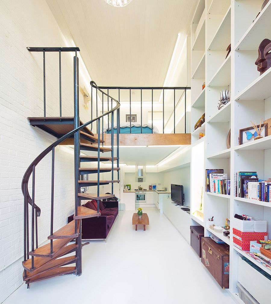 Contemporary London apartment with a smart mezzanine level and spiral staircase