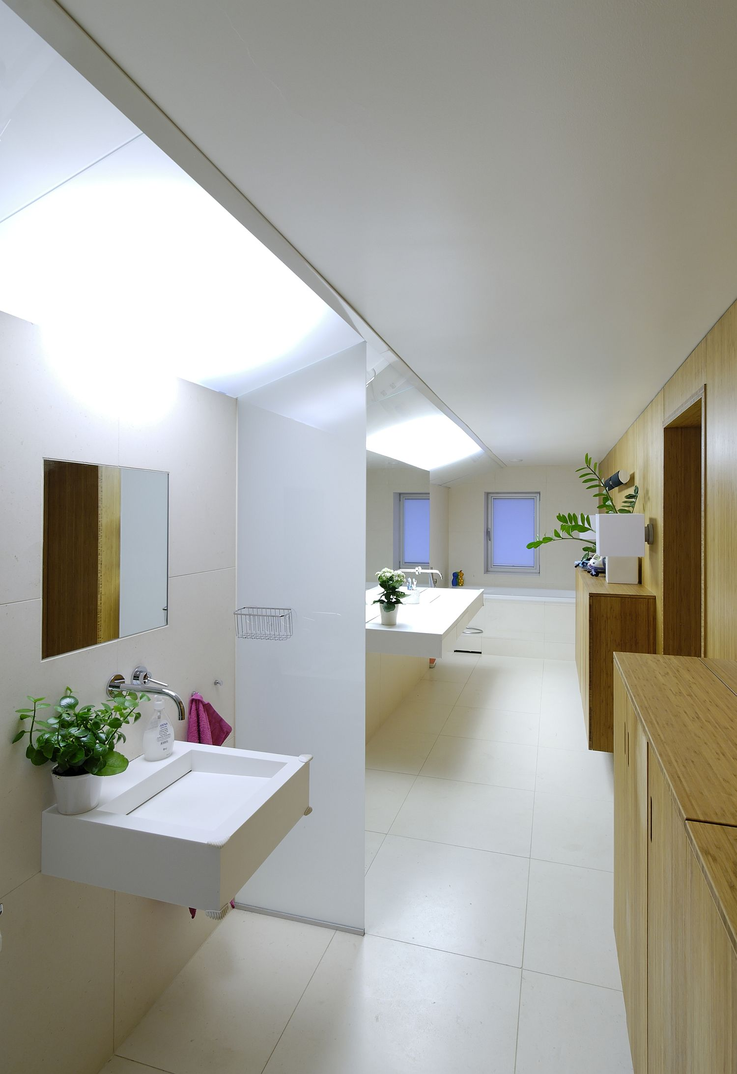 Contemporary bathroom design in white and wood