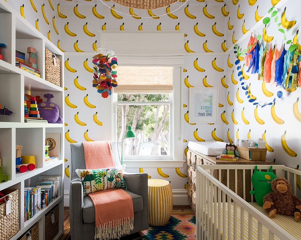 Contemporary nursery wallpaper with banana motifs all around!