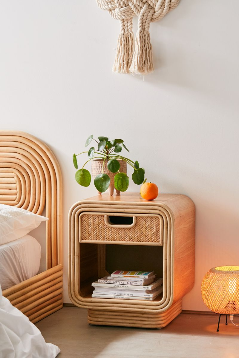 Curved rattan nightstand