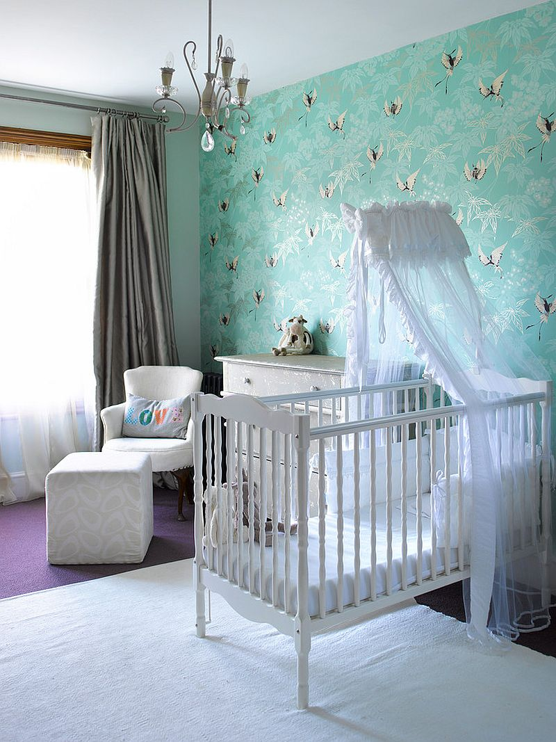 Eclectic wallpaper in blue for the fabulous modern nursery