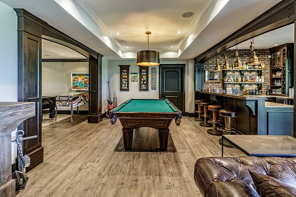 Extensive and spacious basement redesign allows it to function as bar, game room and hangout