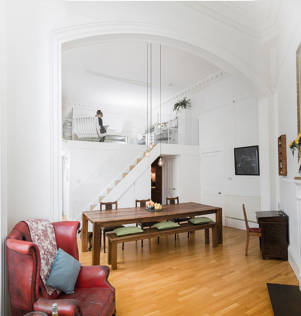 Fabulous mezzanine level of the apartment embraces a bit of classic Mediterranean charm