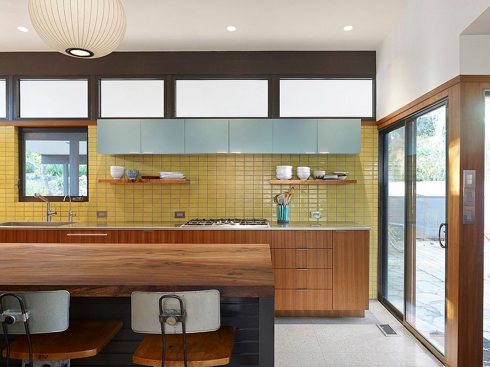 Fabulous midcentury kitchen with bright yellow backsplash and terrazzo flooring