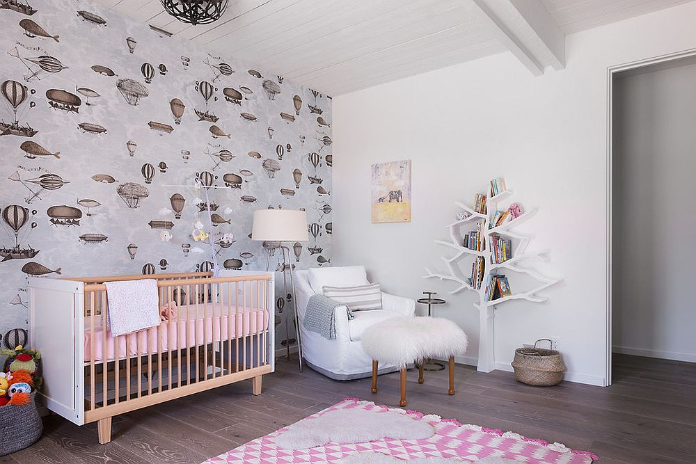 Finding the right pattern for the contemporary nursery in white