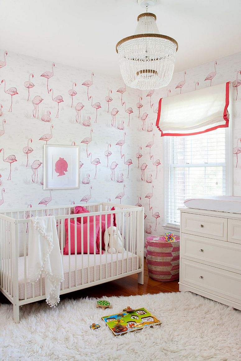 Flamingo pattern for the nursery that feels elegant and is perfect for the baby girl