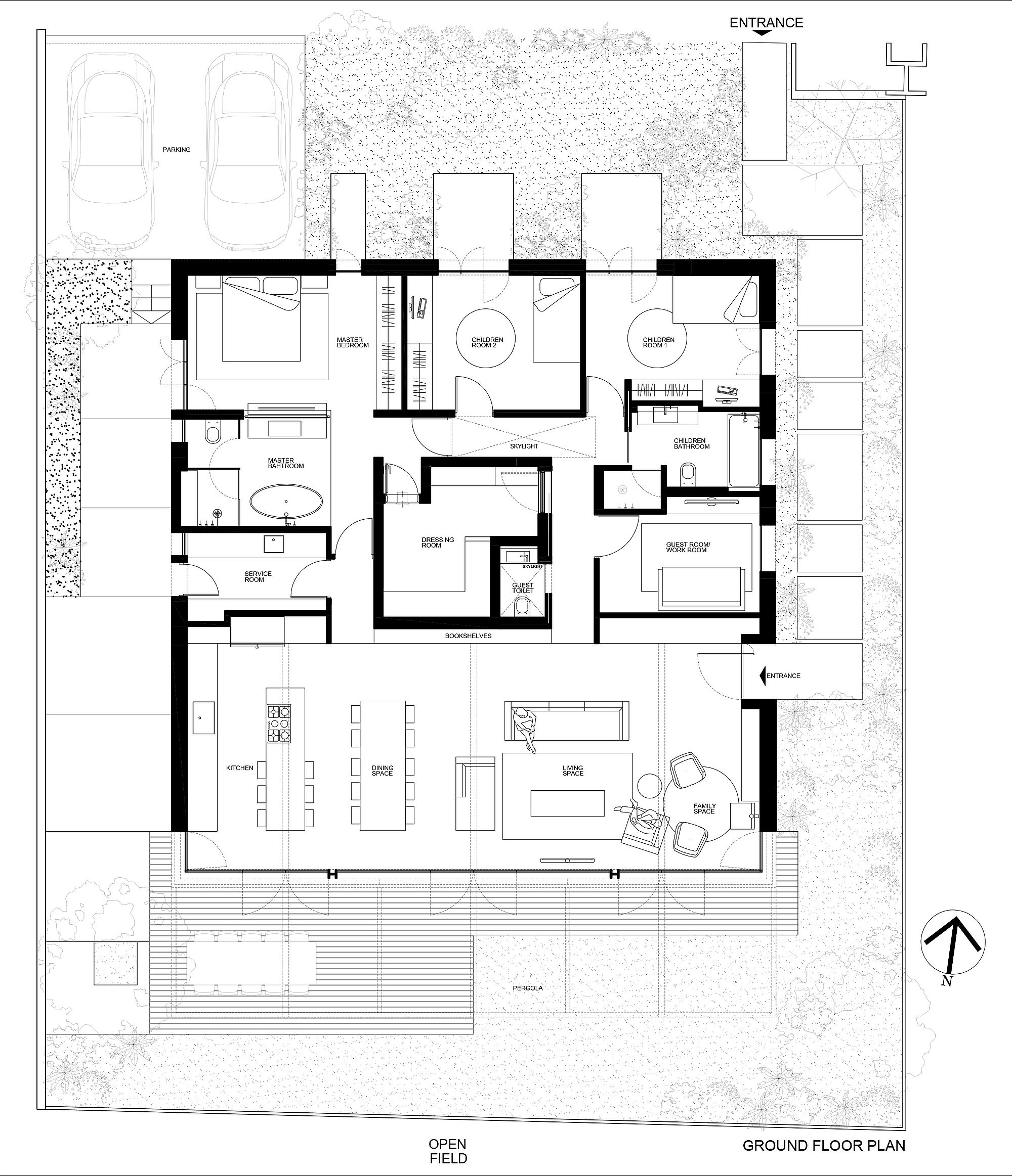 Floor plan of Bare House by the Fields