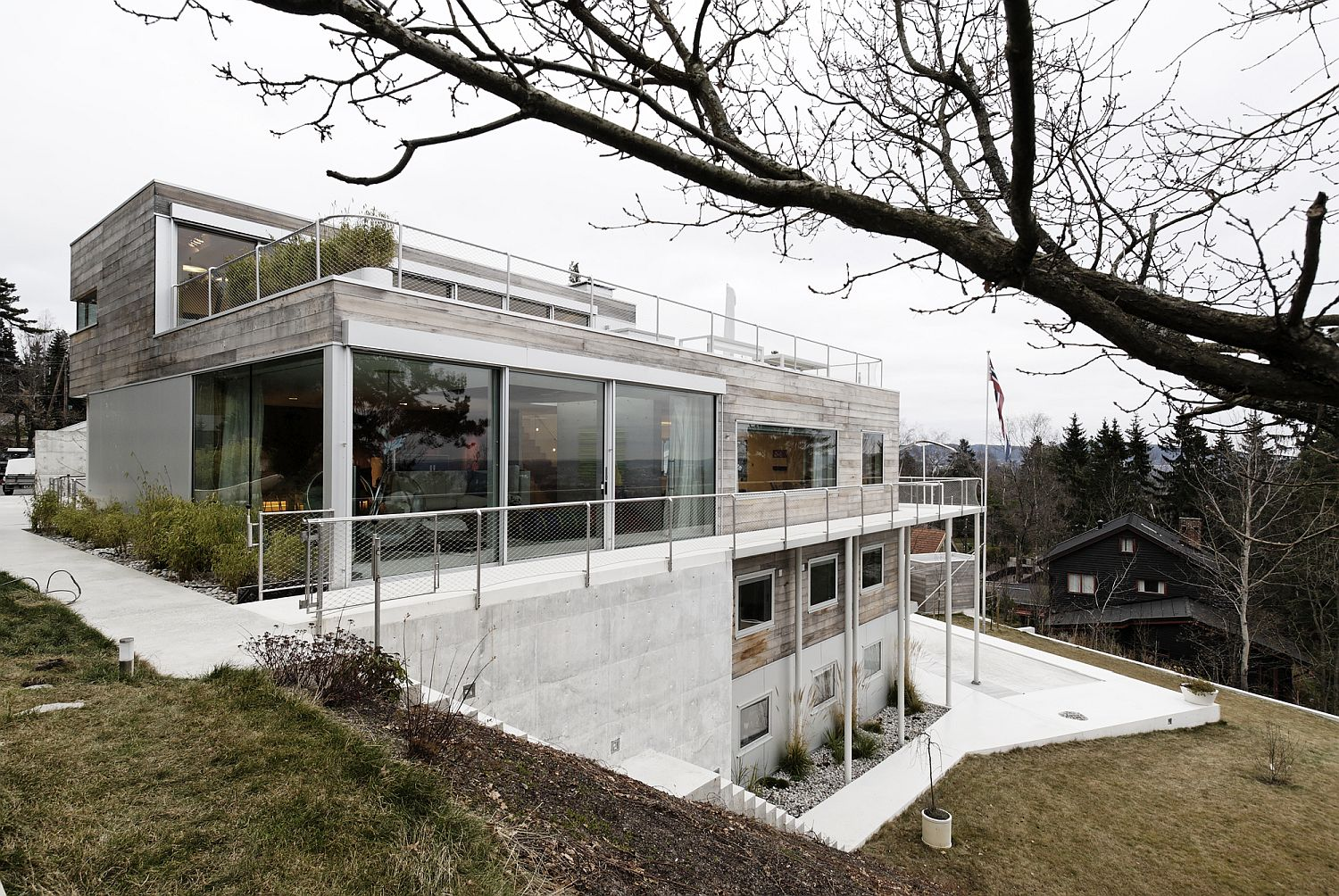 Gorgeous four levels of the home overlooking the landscape outside
