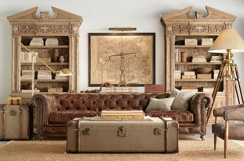 Gorgeous old steamer trunk turned into a modern coffee table
