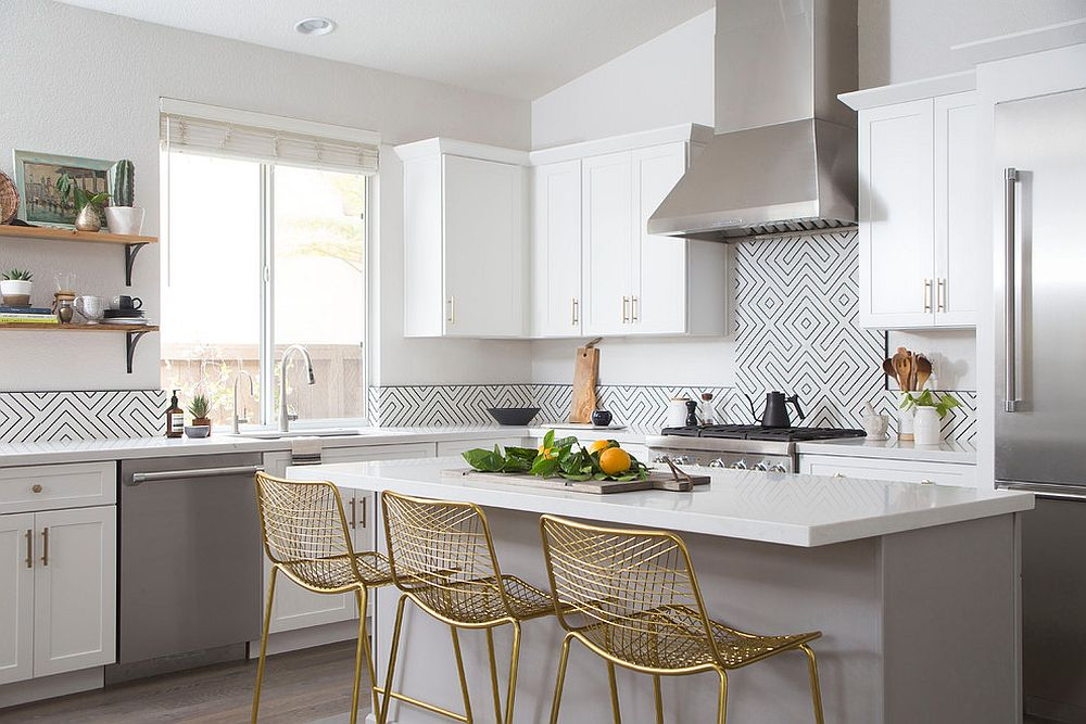 Metallic-seating-options-at-the-kitchen-counter-add-gold-to-a-space-in-white-and-gray