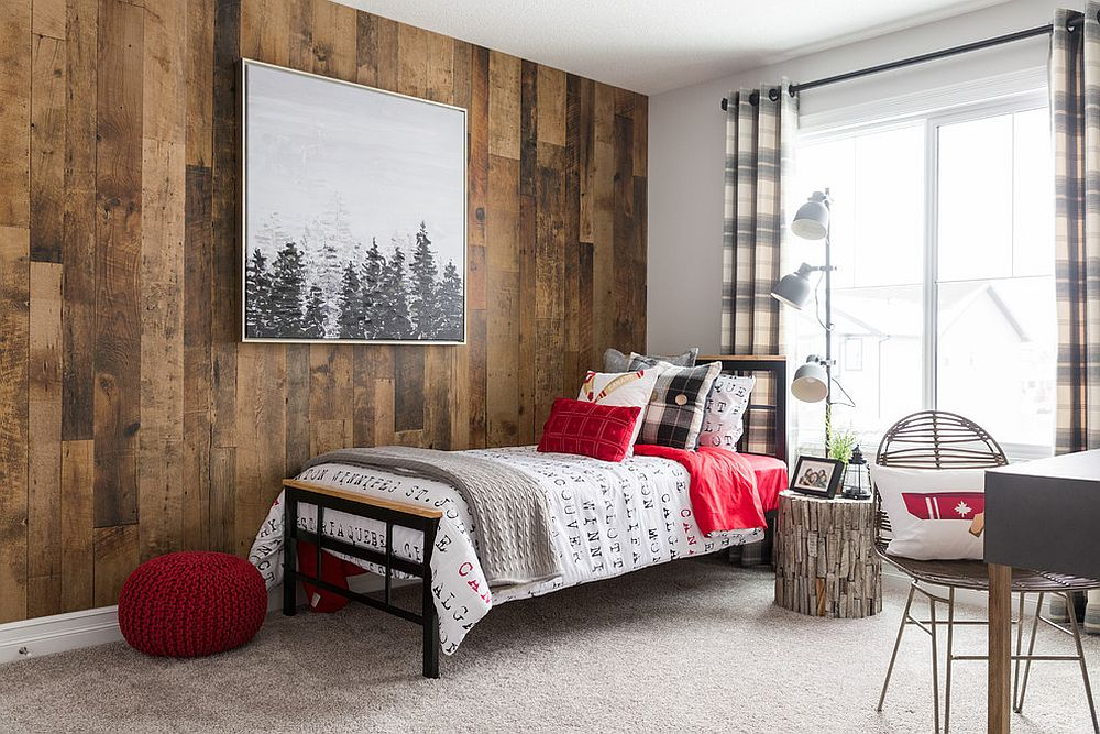 Minimal rustic bedroom with wooden accent wall