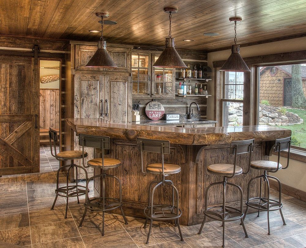 Move-away-from-bold-color-and-flashy-finishes-using-rustic-bar-stools