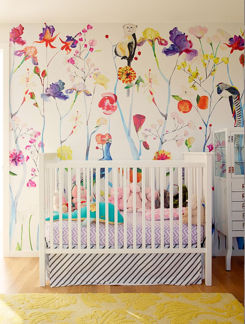 Multi-colored wallpaper in the nursery is a showstopper