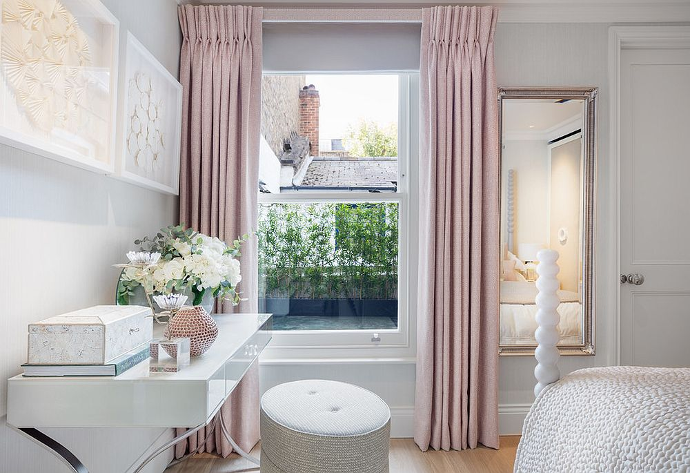 Pastel pink is perfect for those looking to shape a restrained feminine bedroom