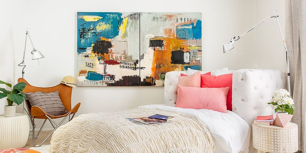 Perfect bedroom for spring that combines color with white in a vivacious fashion