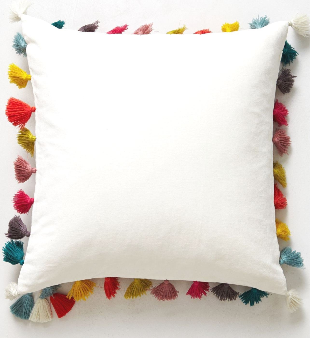Rainbow tassel pillow cover