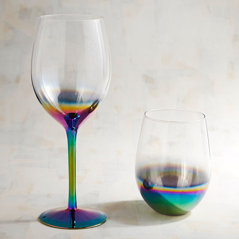 Rainbow wine glasses from Pier 1