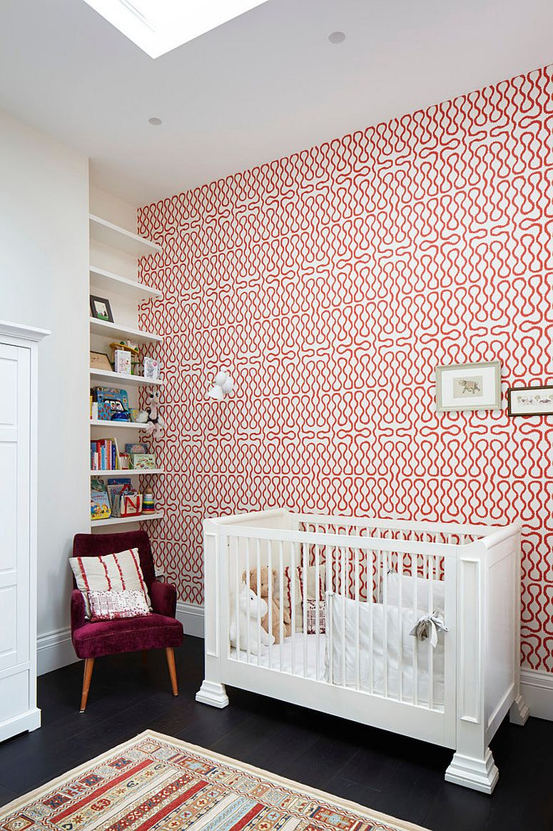 Red and white wallpaper brings pattern to the nursery in white