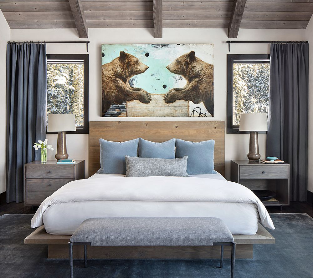 Rustic chic bedroom that veers more towards modern