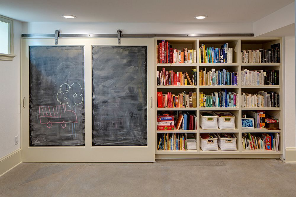Small basement transformed into a beautiful kids'play zone and study