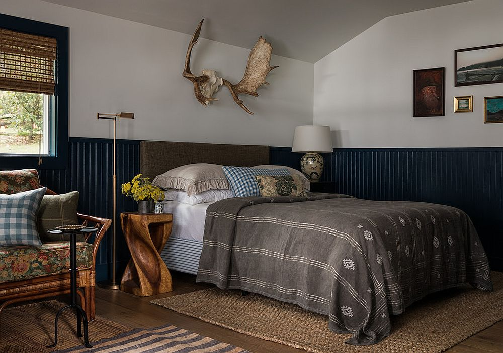 Space-savvy modern rustic bedroom feels understated and classy