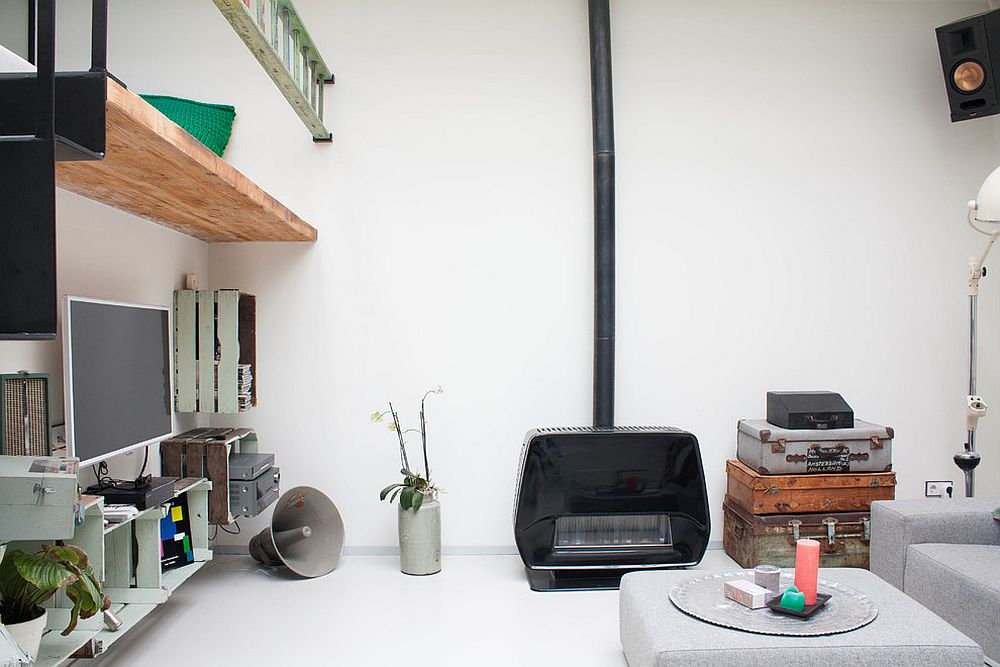 Stacked suitcases is a look that works well in the small eclectic living room