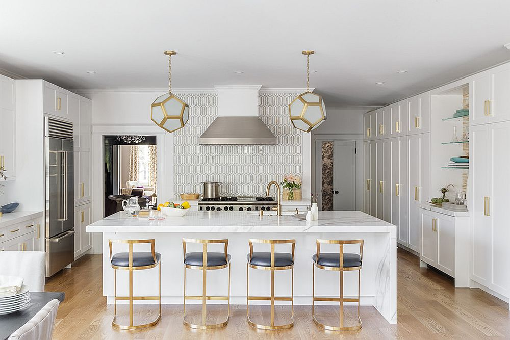 TRansitional-kitchen-with-brass-framed-bar-stools-and-a-marble-countertop