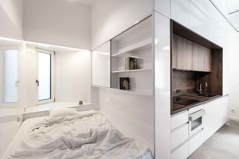 Tiny bedroom next to the kitchen