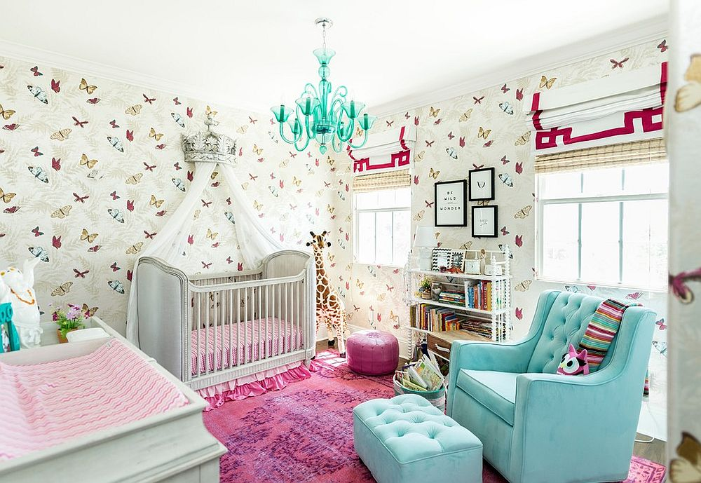 Transitional nursery with butterfly pattern for the wallpaper
