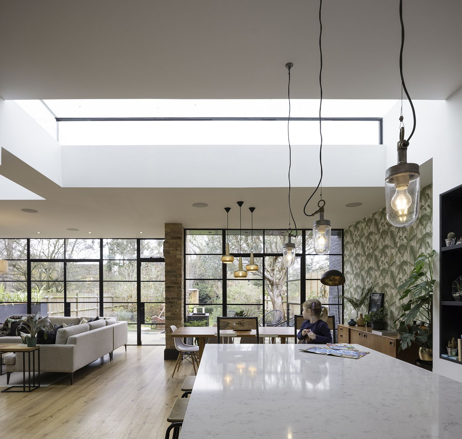 View of the garden from the kitchen of converted London home