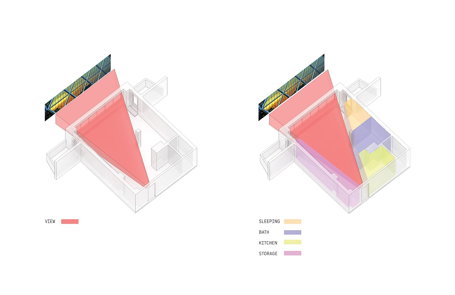 Wedge-shaped design of the storage unit in the apartment plan