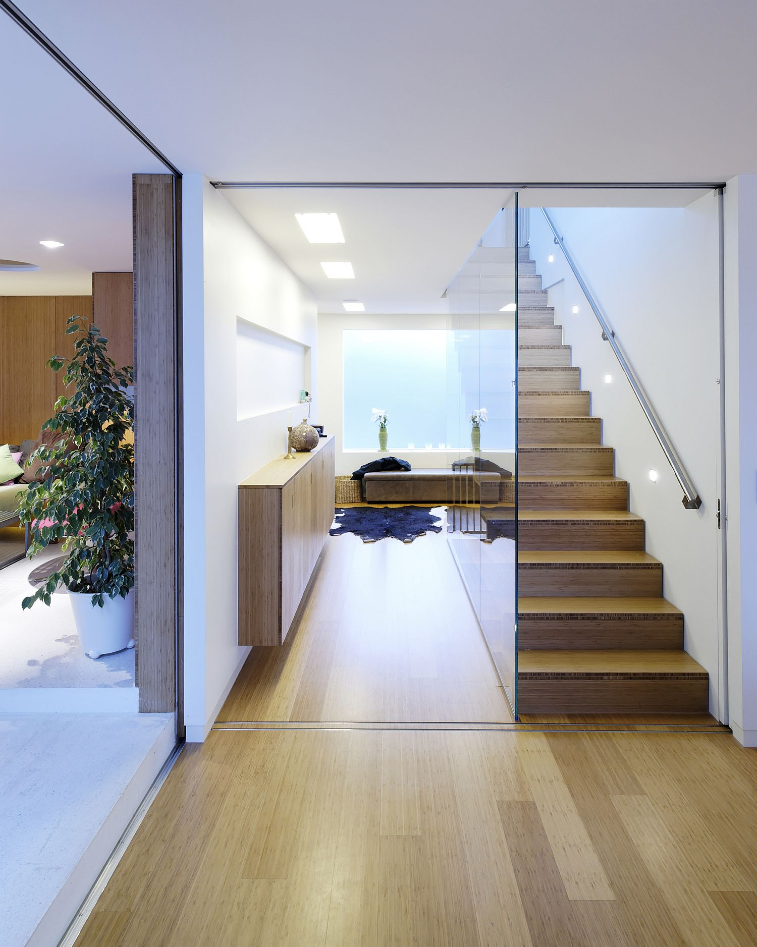 Wooden interior of the house that is lit up beautifully