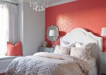 Accet-wall-in-the-bedroom-in-bright-coral-with-subtle-pattern-217x155