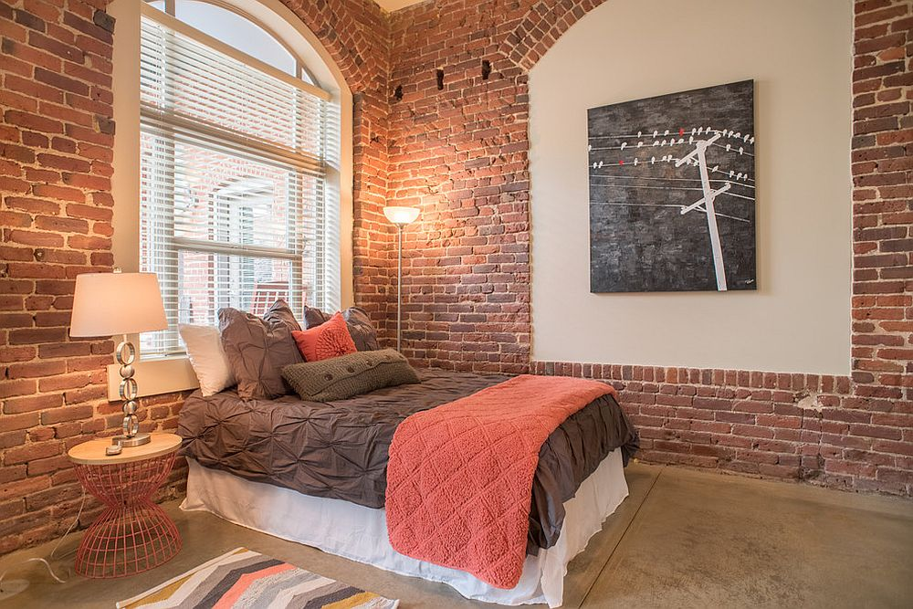Affordable way of adding coral to the industrial bedroom