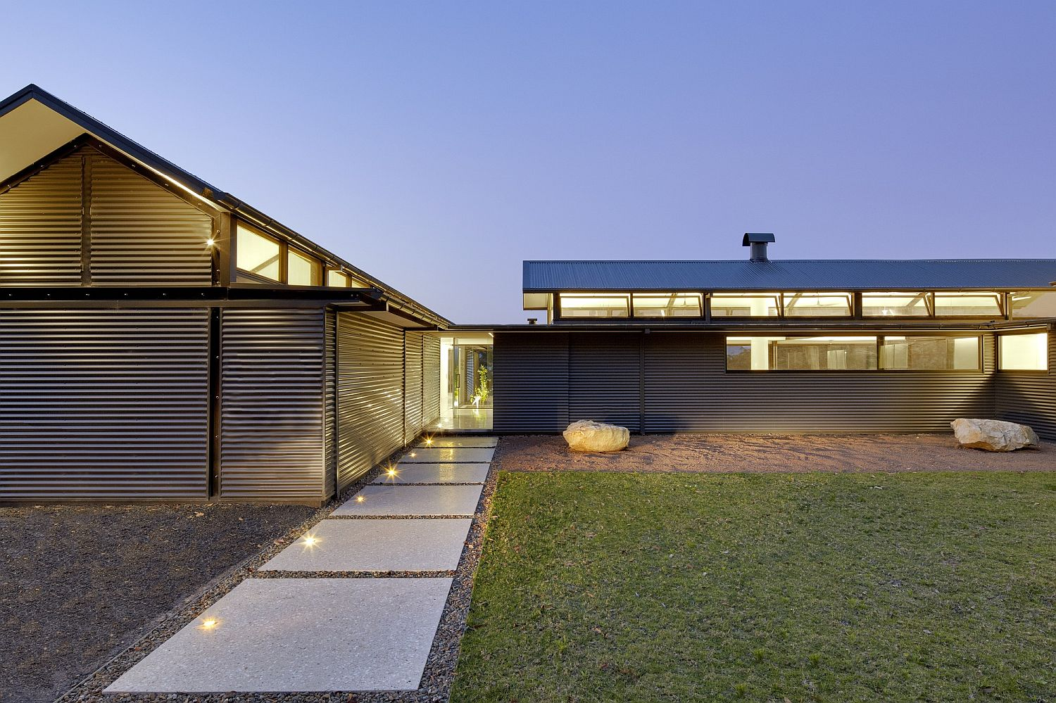 Beautifully lit entranceway to the eco-friendly Rural Home in Kangaroo Valley