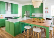 Becah-style-kitchen-in-white-with-green-cabinets-and-island-and-smart-countertops-217x155