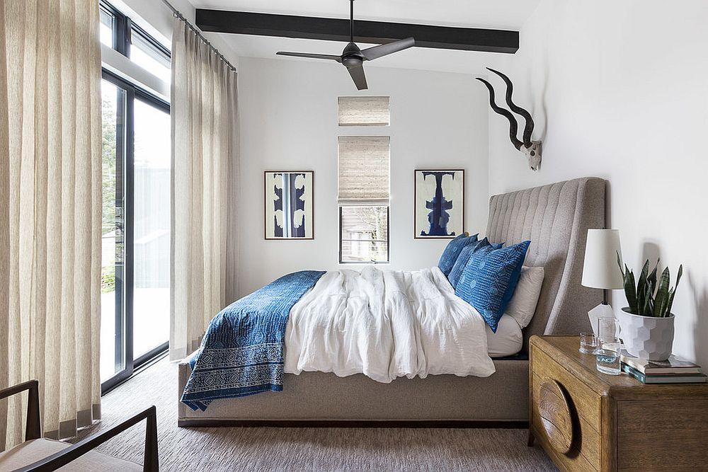 Bedroom that veers more towards modern than rustic