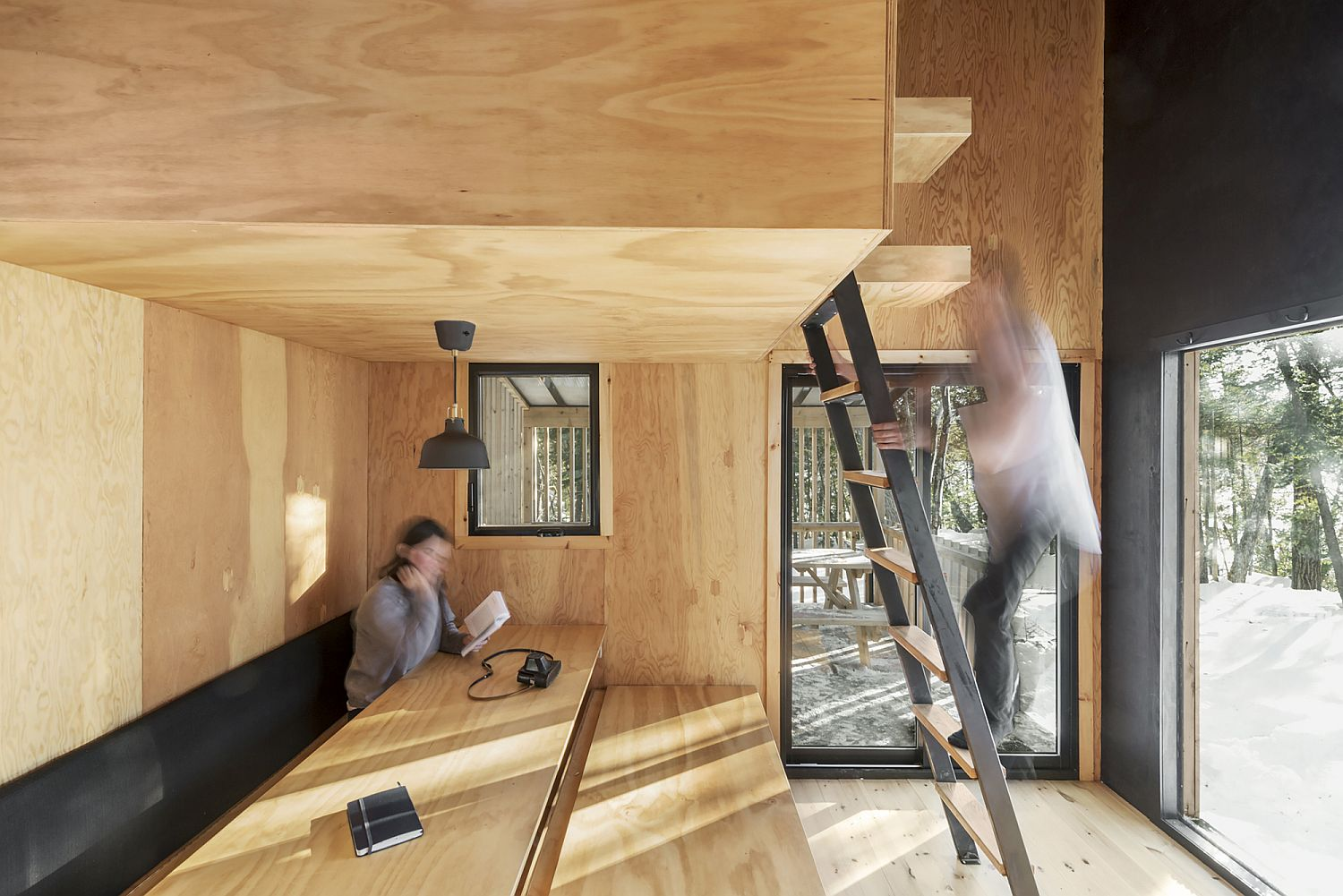 Bench on the lower level of the cabin can be easily converted into an additional bed