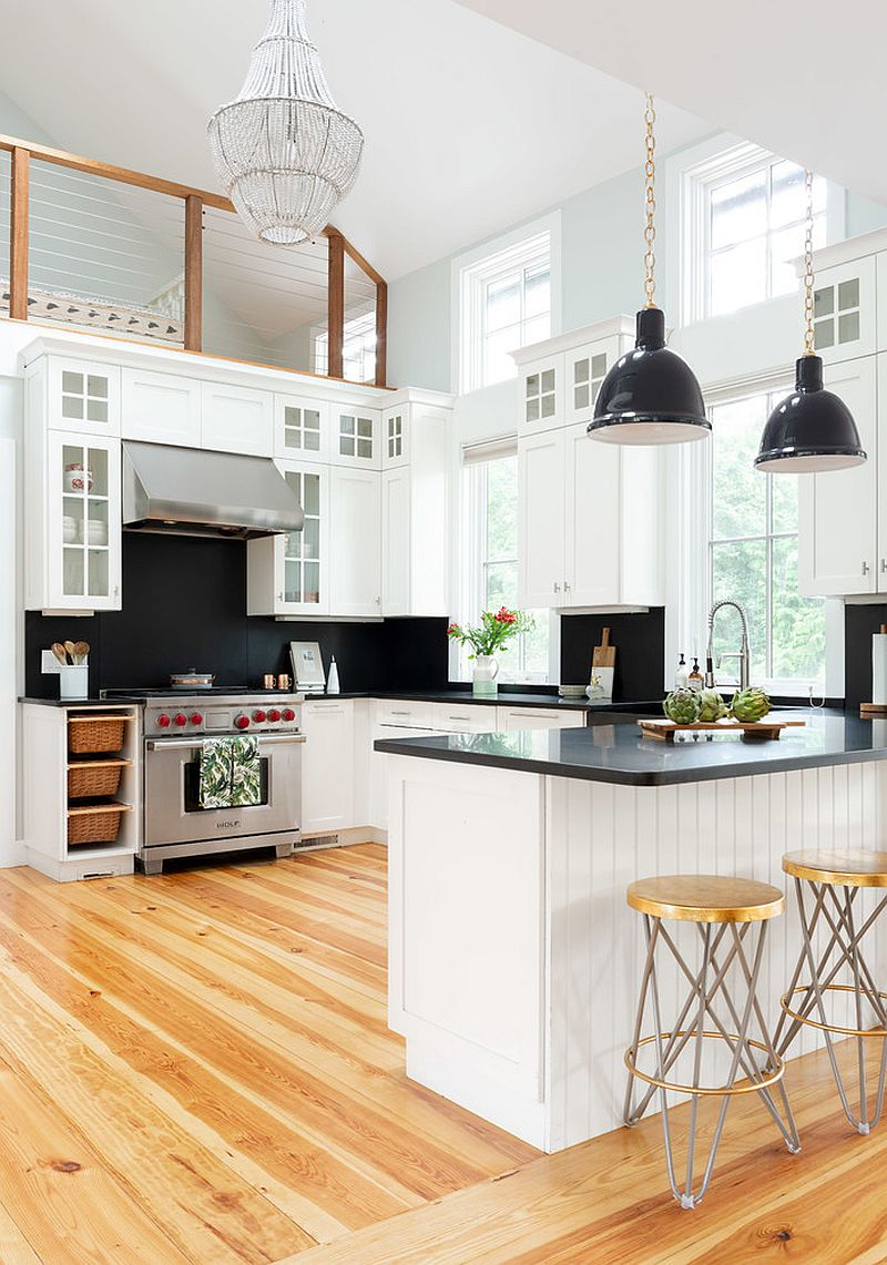 Black and white kitchen with smart modern beach style