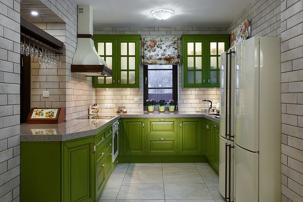 Cabinets add colorful zest to the small kitchen in white