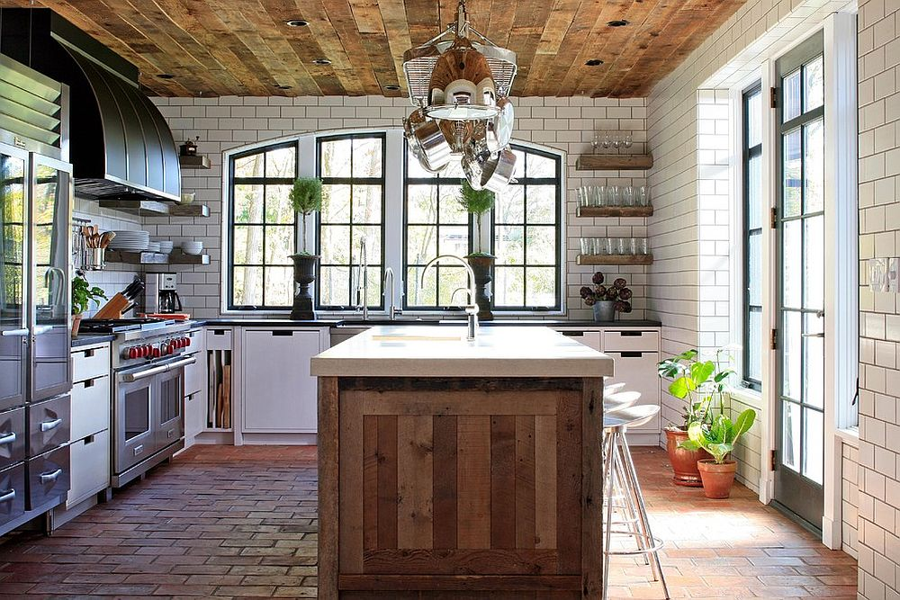 Ceiling adds woodsy element to the white kitchen with tiled flooring