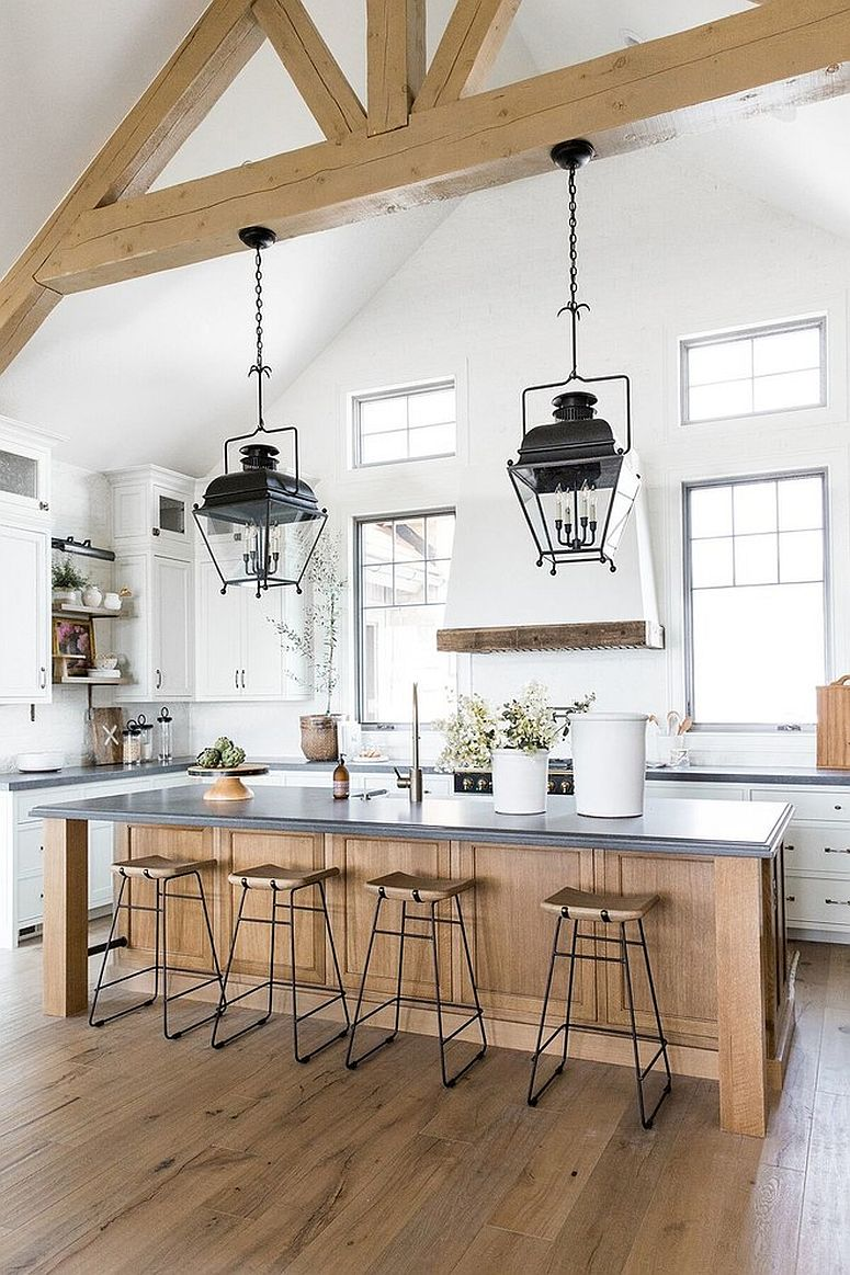 Ceiling beams and design of the kitchen accentuate its farmhouse appeal
